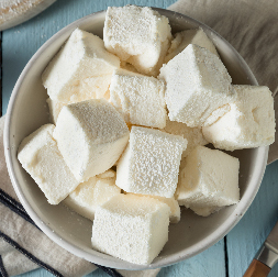 Homemade marshmallow squares.