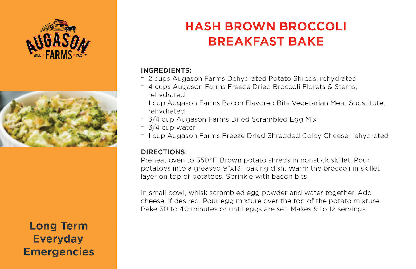 Augason Farms Hash Brown Broccoli Breakfast Bake