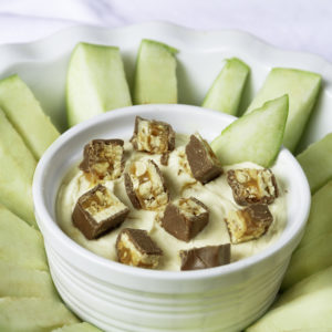 Apple Dip with Chocolate and Peanut Candy and Apple Slices