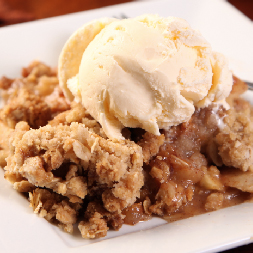 Apple crisp with scoop of ice cream