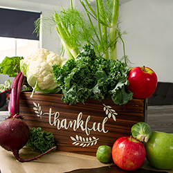 Thankful Box with November Produce, Apples, Kale, Fennel, Beets, Brussels Sprouts, and Cauliflower