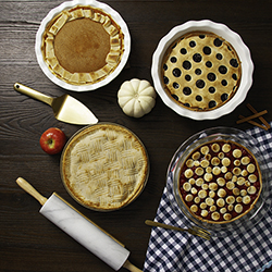 Baked Pies with Variety of Pie Crust Designs