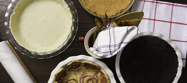 Cinnamon roll pie crust, oreo pie crust, classic pie crust, and graham cracker pie crust.