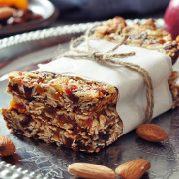 Apple Cinnamon Chewy Bars wrapped in Paper and Burlap String Bow