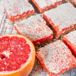 Grapefruit bars dusted with powdered sugar