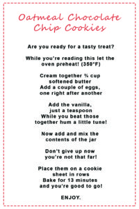 Baking directions for cookies