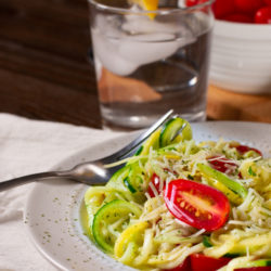 Zoodles with freshly grated parm and cherry tomatoes