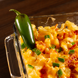 Macaroni and Cheese with jalapenos and bacon