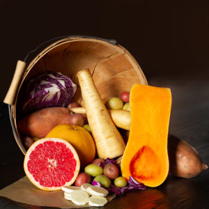 Assorted produce in basket