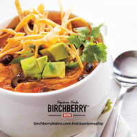 bowl of enchilada soup with avocados and Birchberry Bistro logo