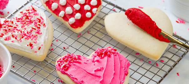 Sugar Cookies with Red, White, and Pink frosting with sprinkles