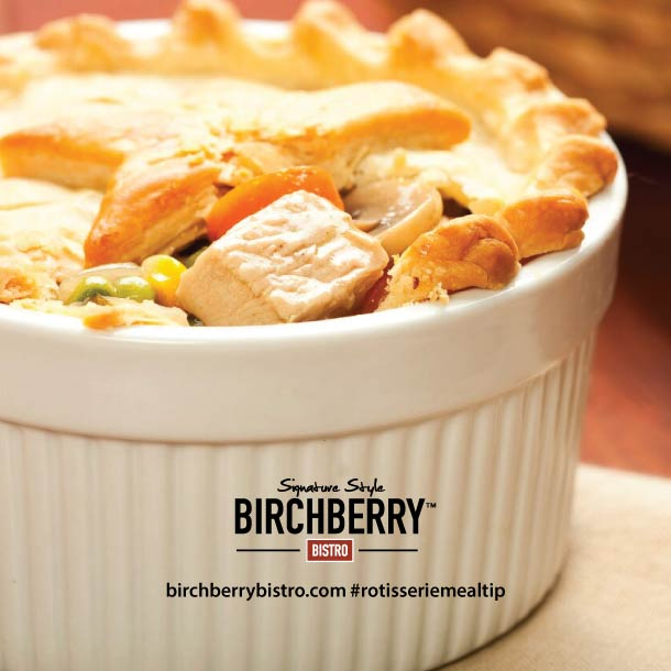 Chicken pot pie in a white bowl