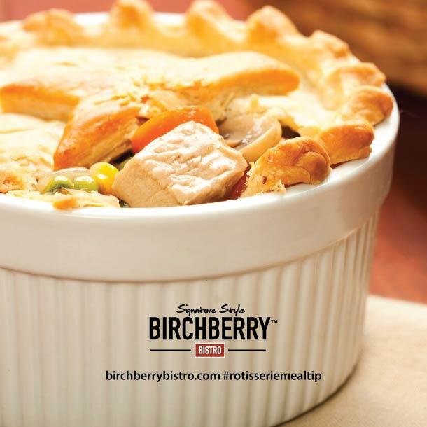 Chicken pot pie in a white bowl
