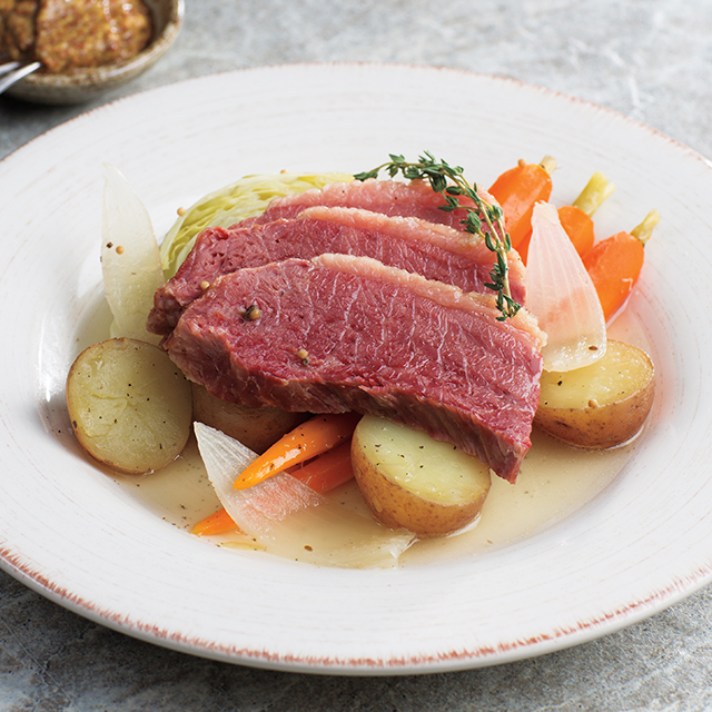Corned Beef and Cabbage on a White Plate