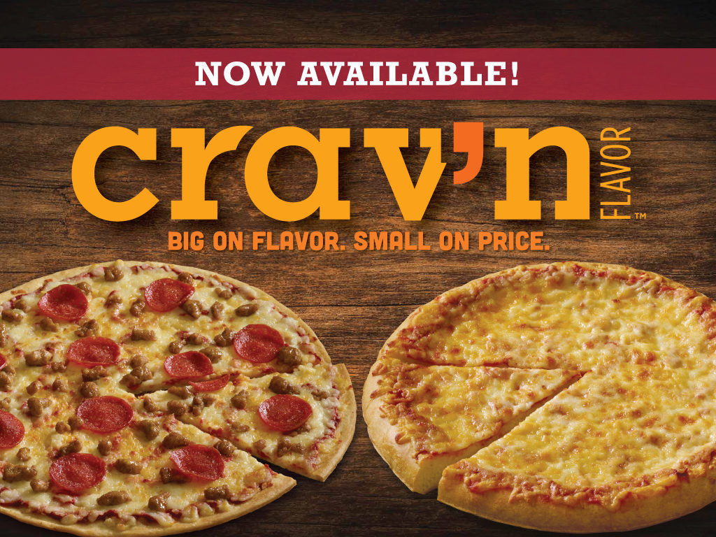 Crav'n Flavor Pizza Now Available. Pepperoni and sausage thin crust and a cheese rising crust.
