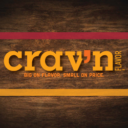 Crav'n Flavor Pizza Logo. Big on flavor. Small on price.