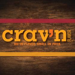 Crav'n Flavor Pizza Logo. Big on flavor. Small on price.