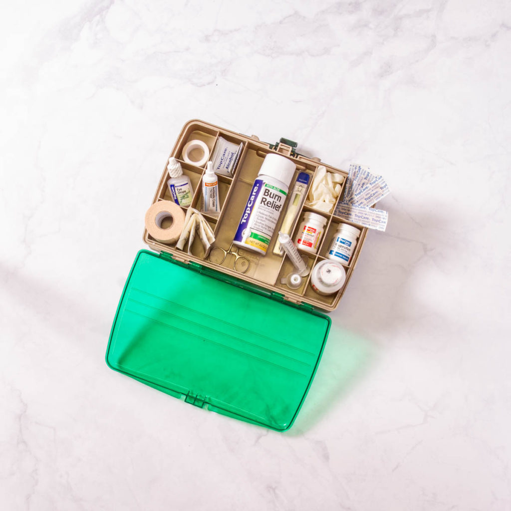 tackle box with first aid supplies