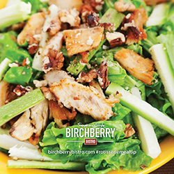 chicken and lettuce with birchberry bistro rotisserie chicken logo