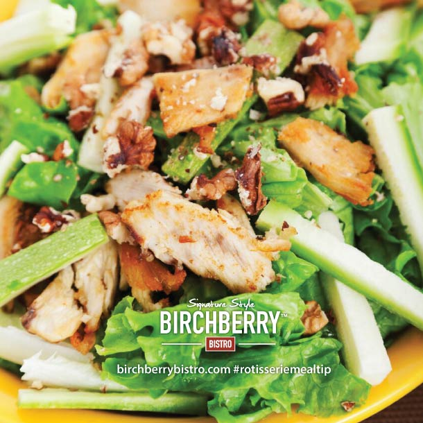 lettuce, chicken, apples, bacon and walnuts tossed as a salad