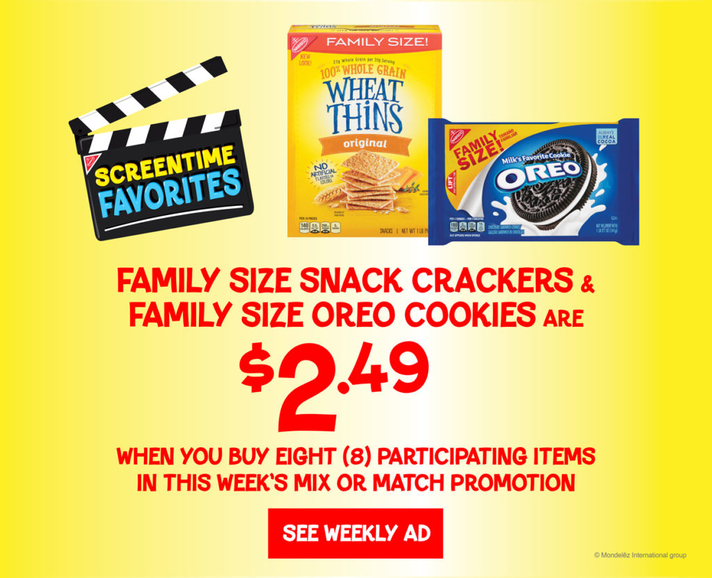 Yellow background with red text showing deal for Nabisco family size snack crackers and cookies. $2.49 when you buy 8. product image of wheat thins and oreos.