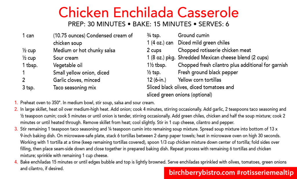 chicken enchilada casserole recipe card