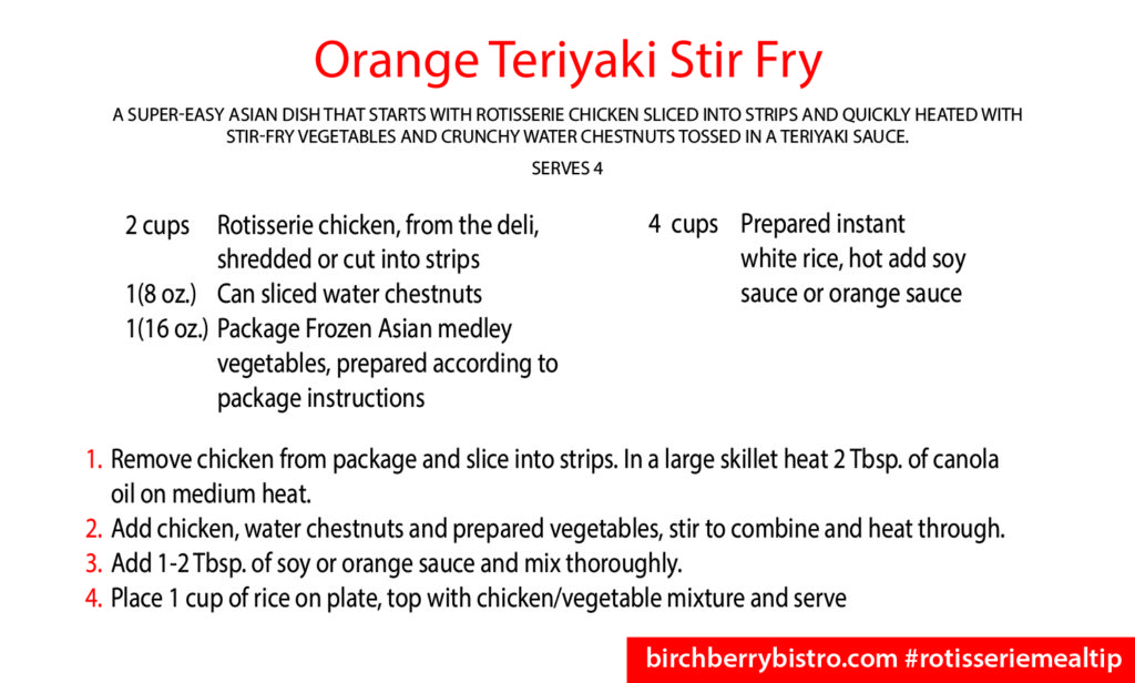 orange teriyaki chicken recipe card