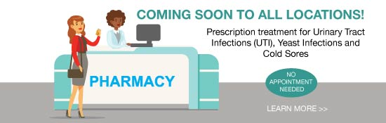 prescription treatment for uti, yeast infection and cold sores coming to all locations