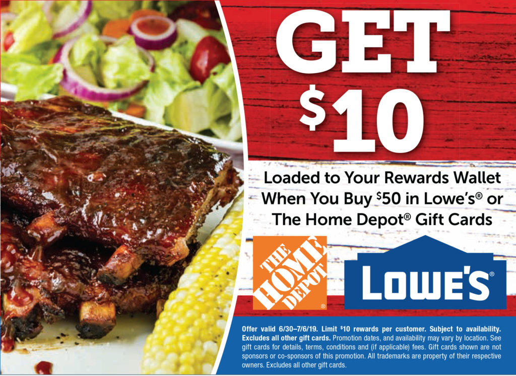 Get $10 loaded into your rewards wallet when you buy $50 in Lowe's or Home Depot gift cards