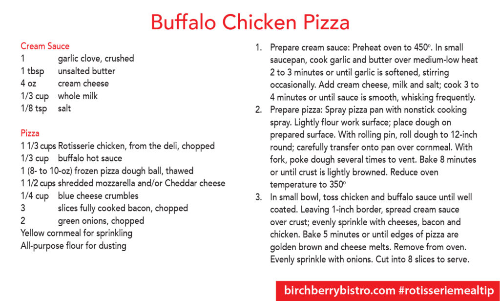 Buffalo Chicken Pizza Recipe Card