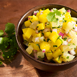 mango cilantro salsa with red onion and garnish