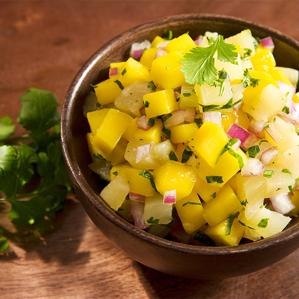 mango and cilantro salsa with red onion and garnish