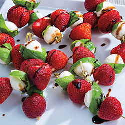 strawberry basil and mozarella with balsamic glaze on skewers