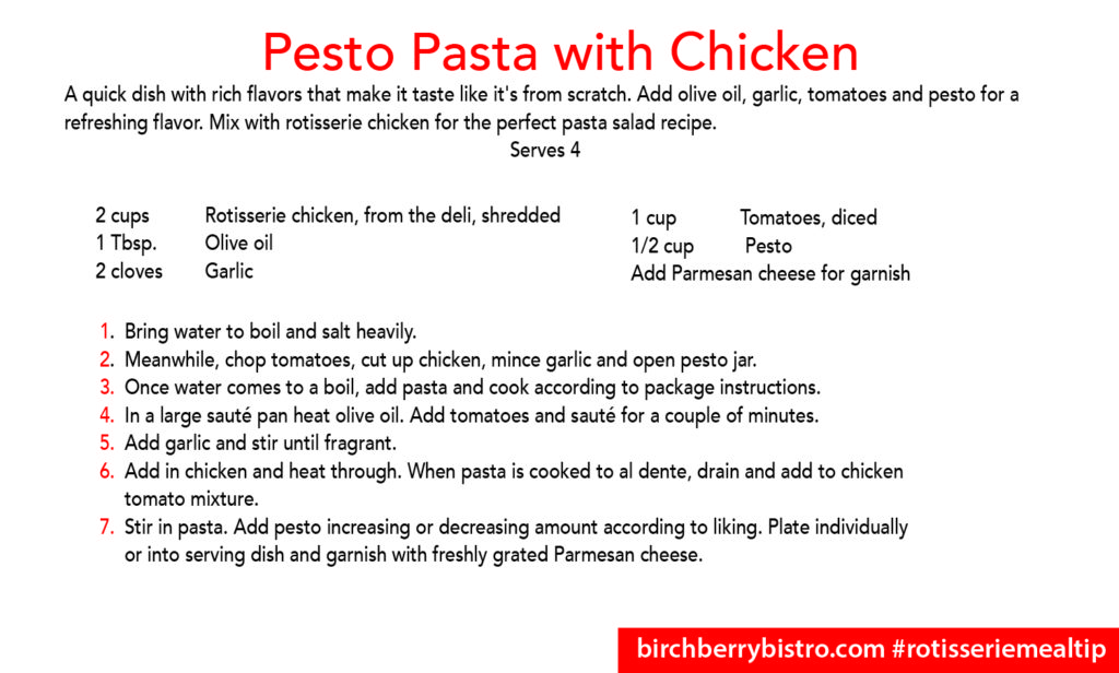 pesto pasta with chicken recipe card