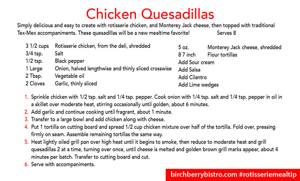 chicken quesadilla recipe card
