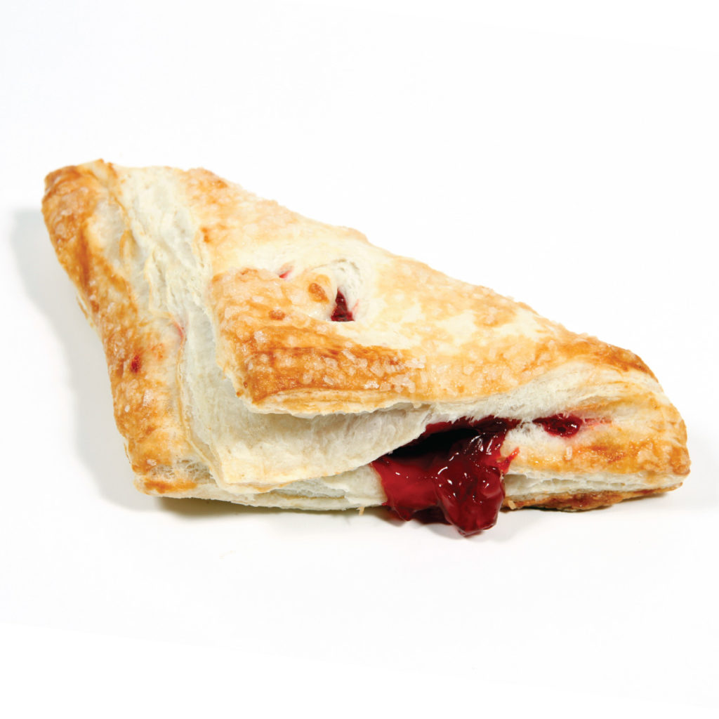 cherry turnover pastry on white