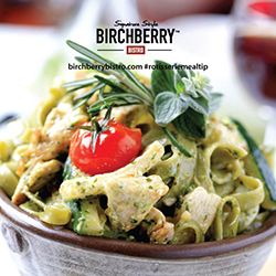 pesto chicken pasta with the Birchberry Bistro logo