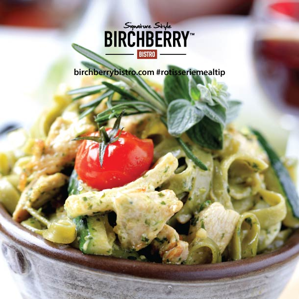 pesto pasta chicken with the Birchberry Bistro logo