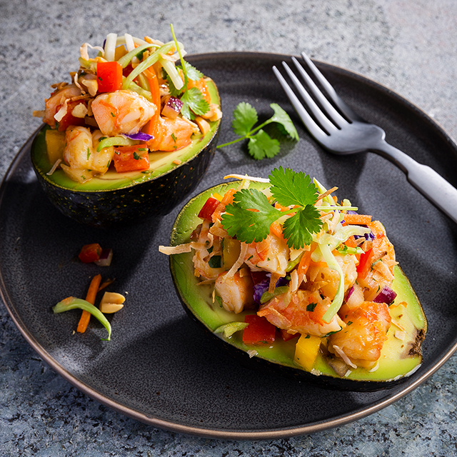 shrimp and slaw stuffed avocados