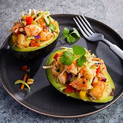 shrimp and broccoli slaw stuffed avocados