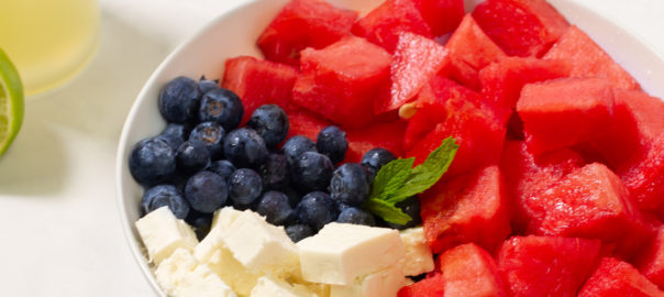 watermelon feta and blueberry fruit salad