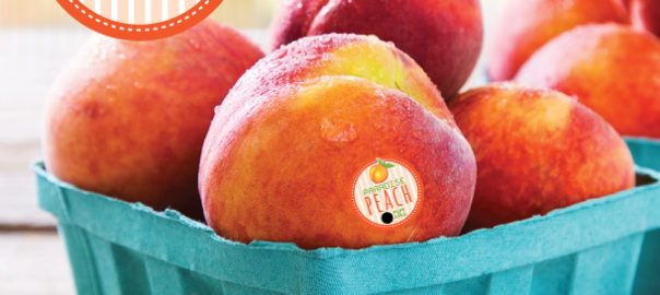 Delicious peaches in a basket