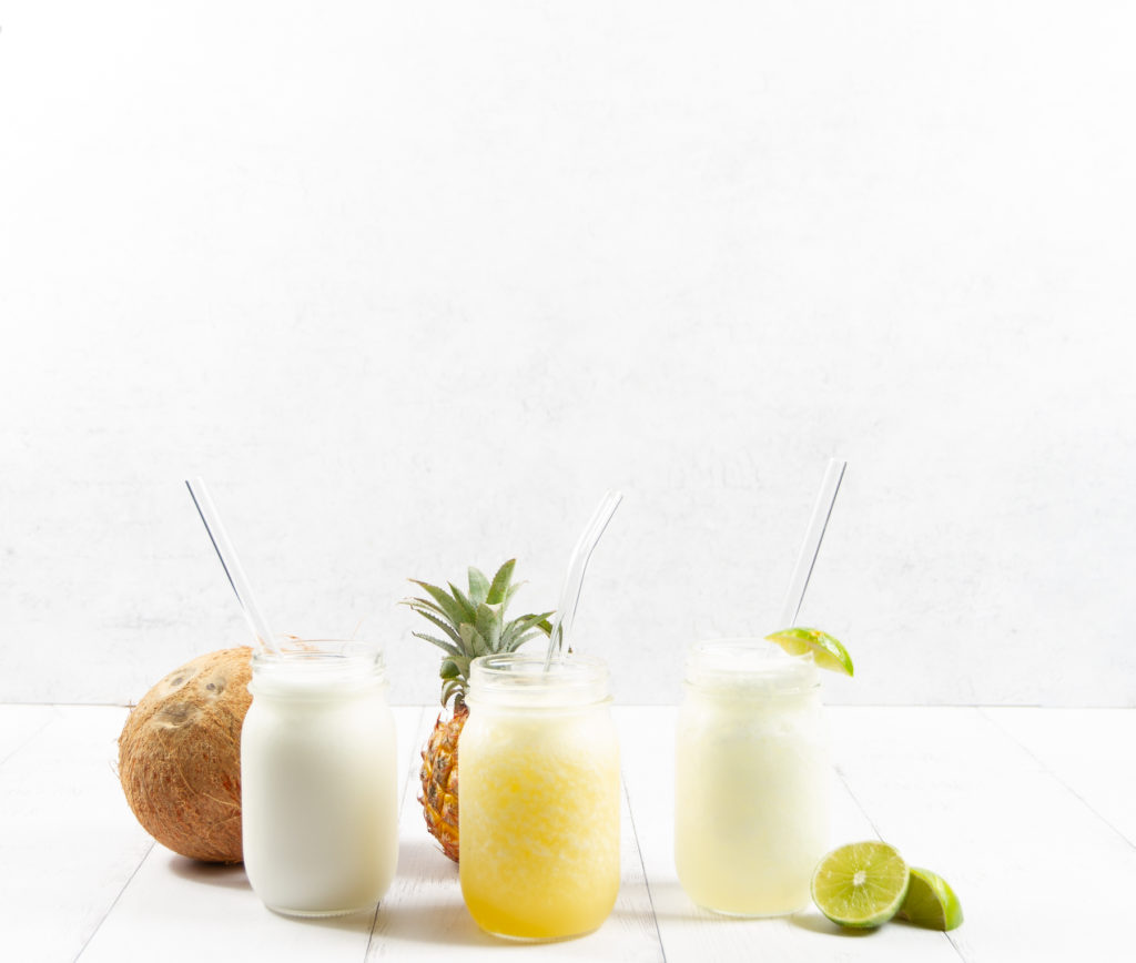 Coconut, pineapple and lime frozen mocktails