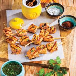 5-Ingredient Chipotle-Honey Salmon Skewers