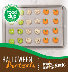 Pretzels covered in green chocolate, white chocolate, and orange chocolate to look like zombies, mummies, pumpkins.