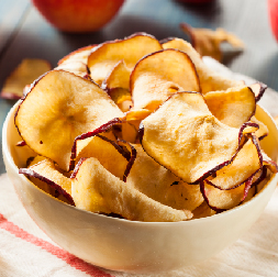 Healthy Apple Chips Thinly Sliced Topped with Cinnamon