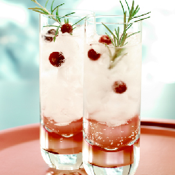 Tall glass with ice, cranberry juice, sparkling water and garnish of rosemary and cranberries