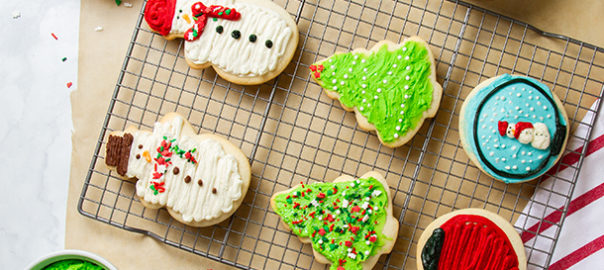 Holiday frosted sugar cookies