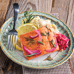 Broiled Salmon with Red onions, rosemary, and potatoes with lemon