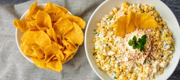 corn dip with chips on the side